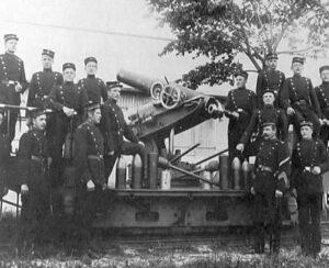 Copenhagen-Fortifications. Canet gun on the Artillery train